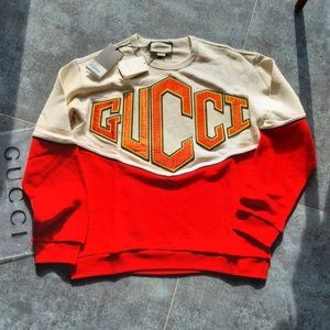 GUCCI MENS NEW COTTON PANELLED CASUAL SWEATSHIRT